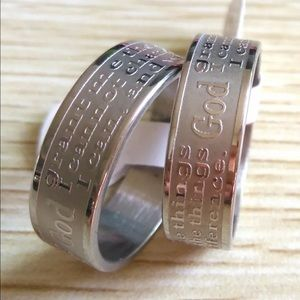 Accessories - FINAL SALE! Unisex Serenity Prayer Stainless Ring